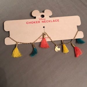Colorful disney fringe choker with hidden Mickey